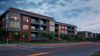 Exterior view of The Flats on Vine looking East in the Arena District in Downtown Columbus Ohio